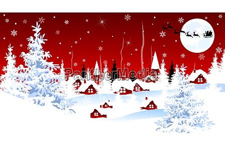 little village on winter christmas night