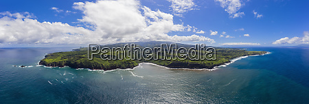 aerial view over pacific ocean and