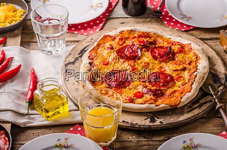 rustic salami pizza with chorizo