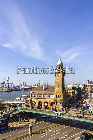 port of hamburg clocktower at landungsbruecken