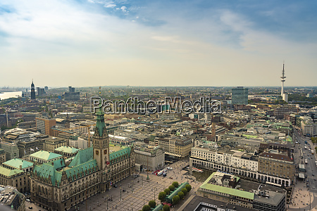 cityscape with city hall and old