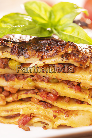 closeup of a portion of lasagna