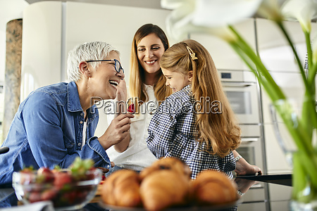 grandmother, offering, stawberry, to, granddaughter, , mother - 27121867