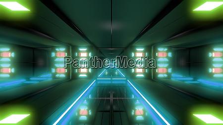 futuristic science fiction tunnel corridor 3d