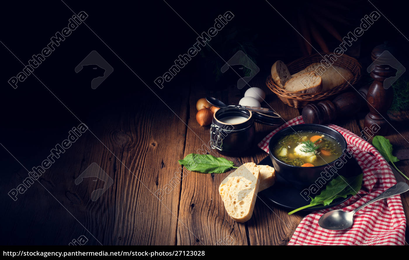 rustikal, sorrel, soup, with, potatoes, and - 27123028