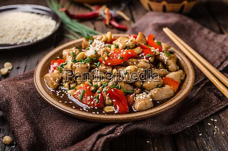 homemade kung pao chicken stir fry