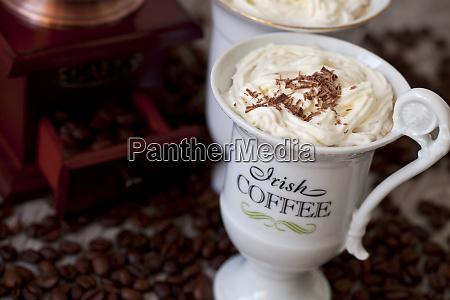 irish coffee in white cups