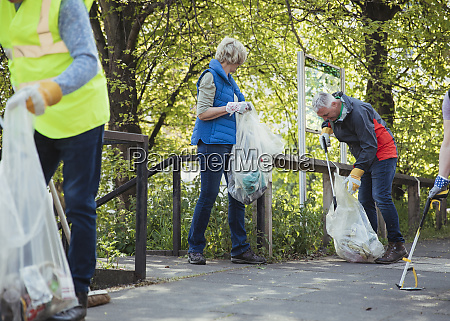 collecting rubbish on the street