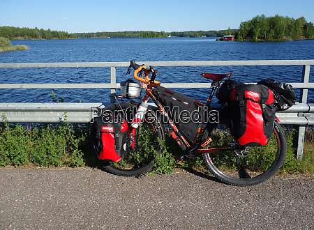 adventure touring bike by lake saimaa