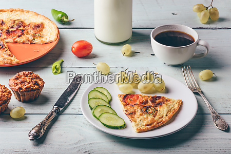 frittata with cup of coffee grapes