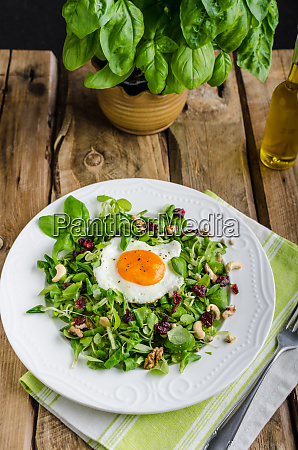fresh salad with nuts raisins and