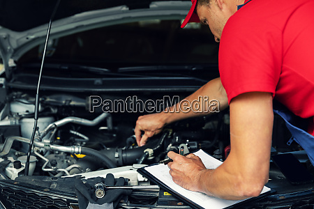 car maintenance mechanic check the