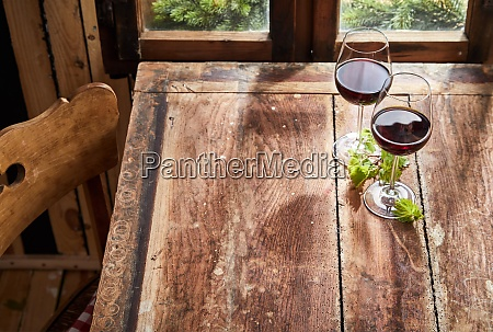 two glasses of red wine with