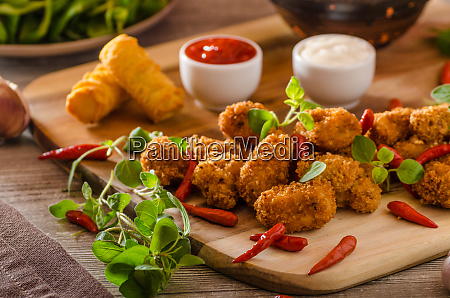 chicken popcorn with croquettes