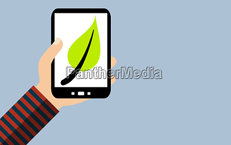 smartphone green leaf symbol for sustainability
