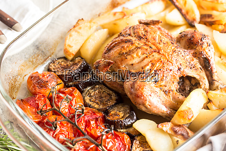 baked whole chicken with potatoes eggplant