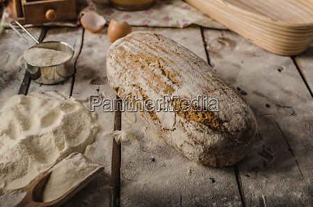homemade rustic bread baked in oven