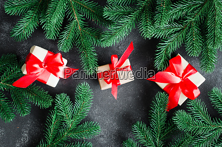 christmas background with fir tree and