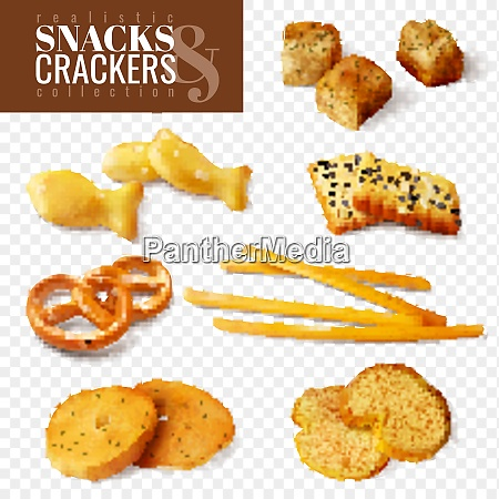 crackers and snacks of different shapes
