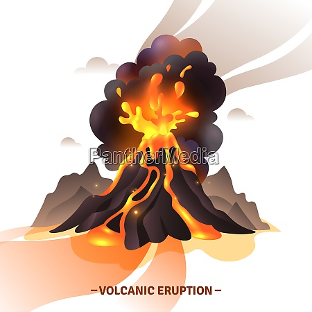 volcanic eruption cartoon composition with salute