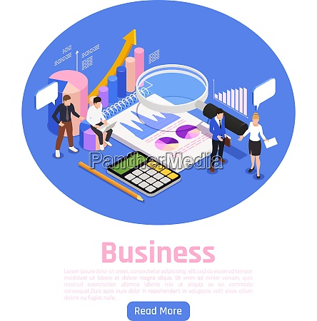 business management isometric page design with