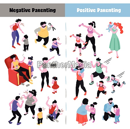parenting isometric icons set depicting positive