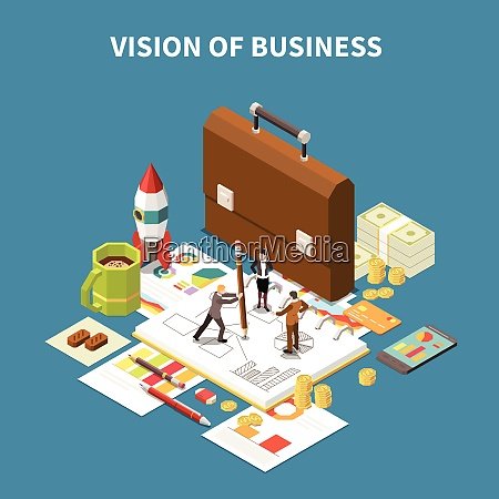 isometric business strategy composition with vision