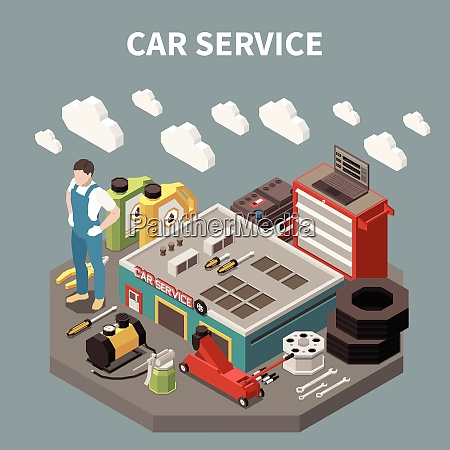 colored isometric car service composition with