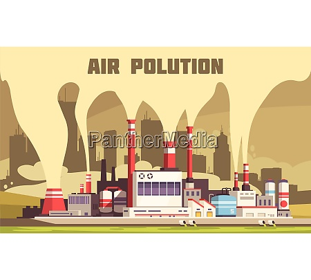 air pollution flat composition with harmful