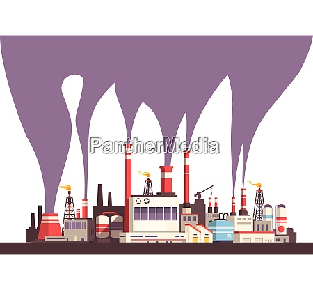 industrial flat background with set of