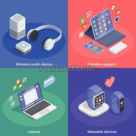 modern devices isometric design concept with