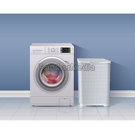 washing machine realistic background with laundry