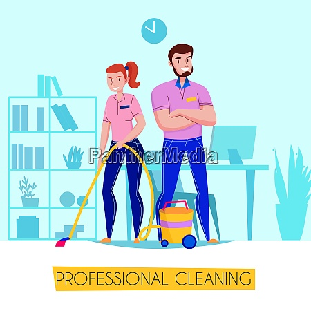 professional cleaning service flat advertising poster
