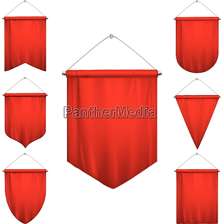 signal red sport pennants triangle flags