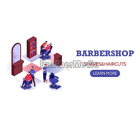 isometric horizontal banner with stylists doing