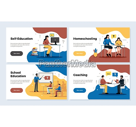 education horizontal banners set with school