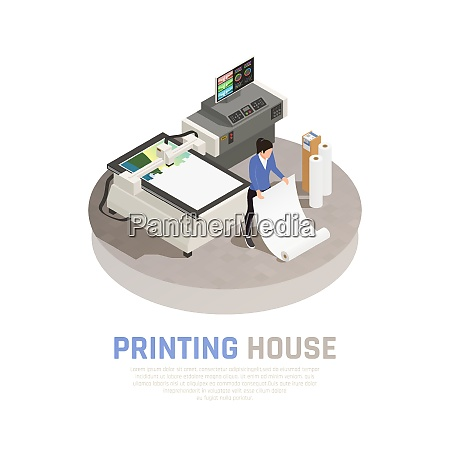colored and isometric printing house polygraphy