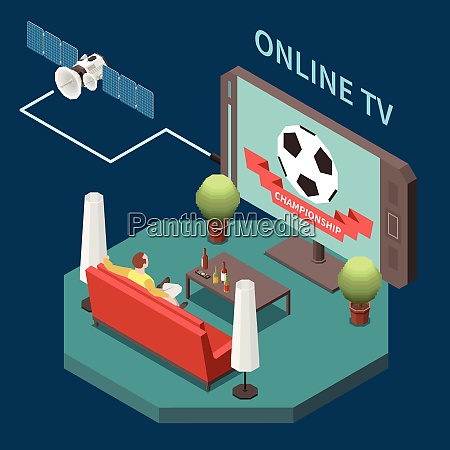 telecommunication isometric composition with man watching