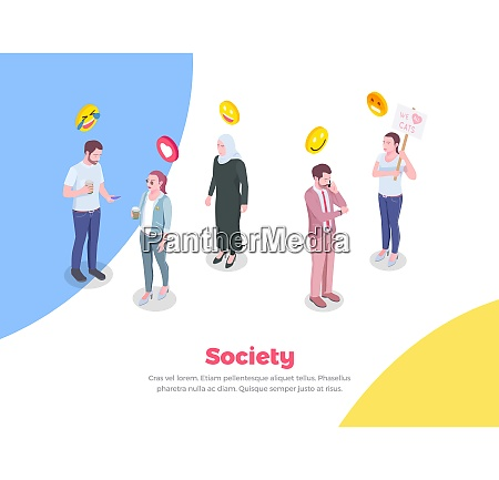 society people isometric background with doodle