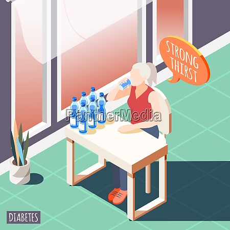 diabetes isometric background with diseased women