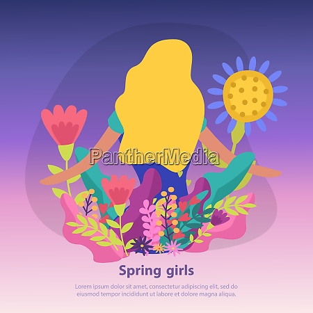 colorful flat background with spring flowers