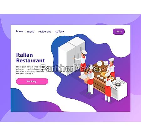 italian restaurant website isometric landing page