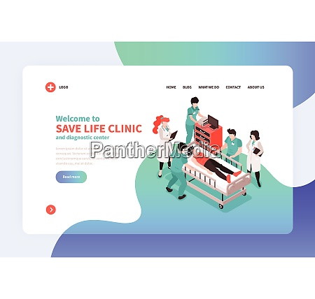 isometric hospital concept banner web site