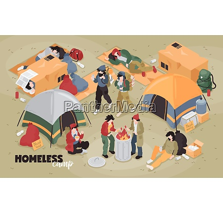 isometric homeless composition with editable text