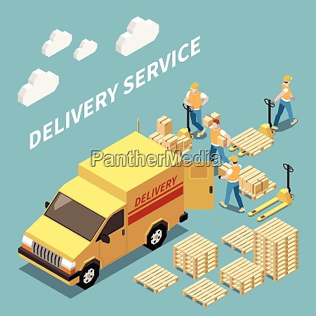delivery service isometric composition with workers