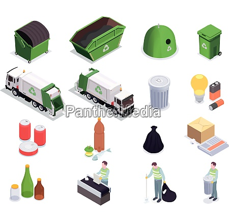 set of sixteen garbage waste recycling