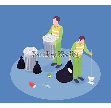 garbage waste recycling isometric composition with