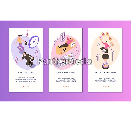 time management vertical banners set of