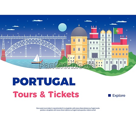 explore portugal poster with tours and