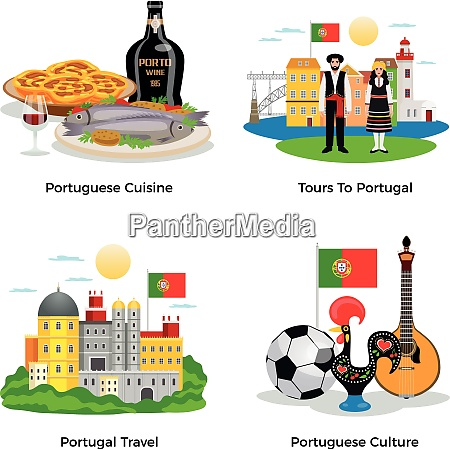 portugal tourism concept icons set with